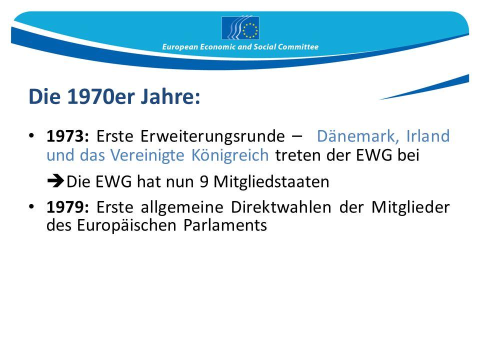 Die 1970er Jahre: Die EWG hat nun 9 Mitgliedstaaten