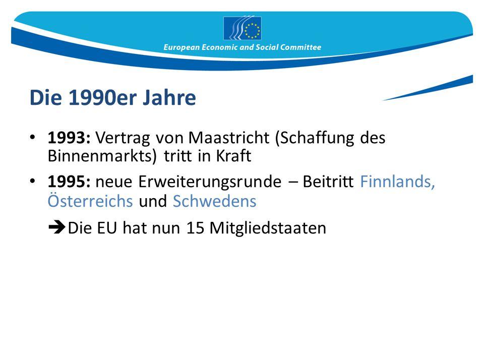 Die 1990er Jahre Die EU hat nun 15 Mitgliedstaaten