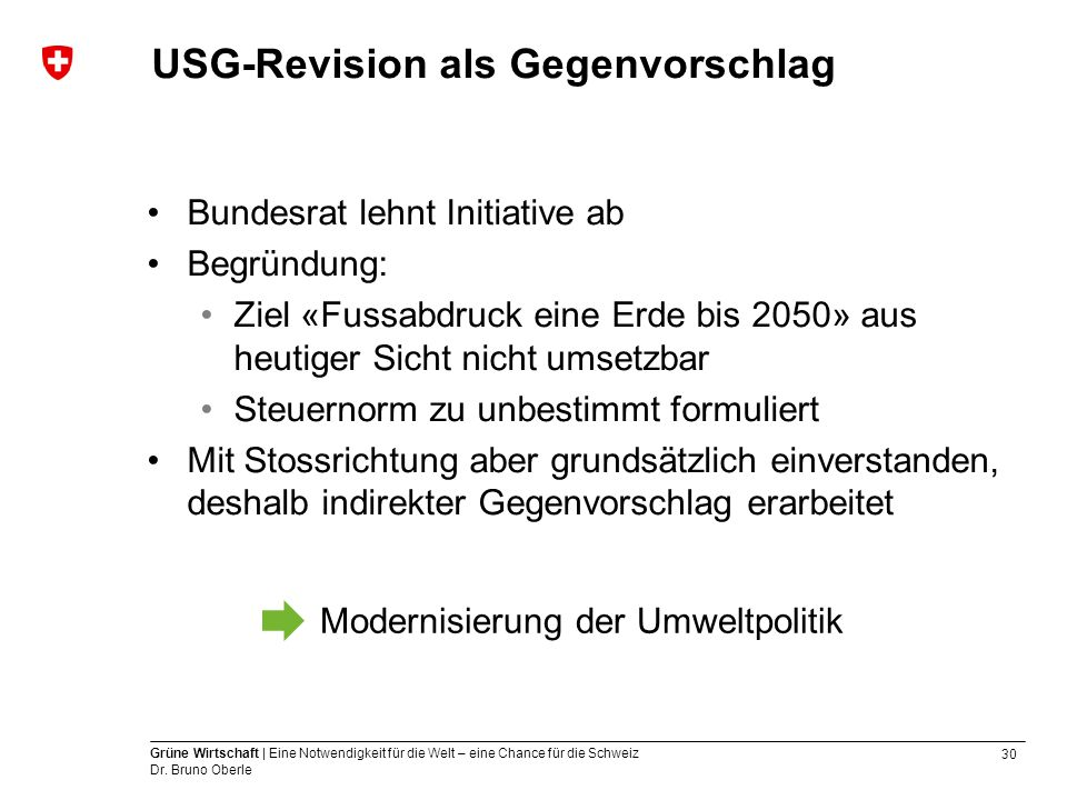 USG-Revision als Gegenvorschlag