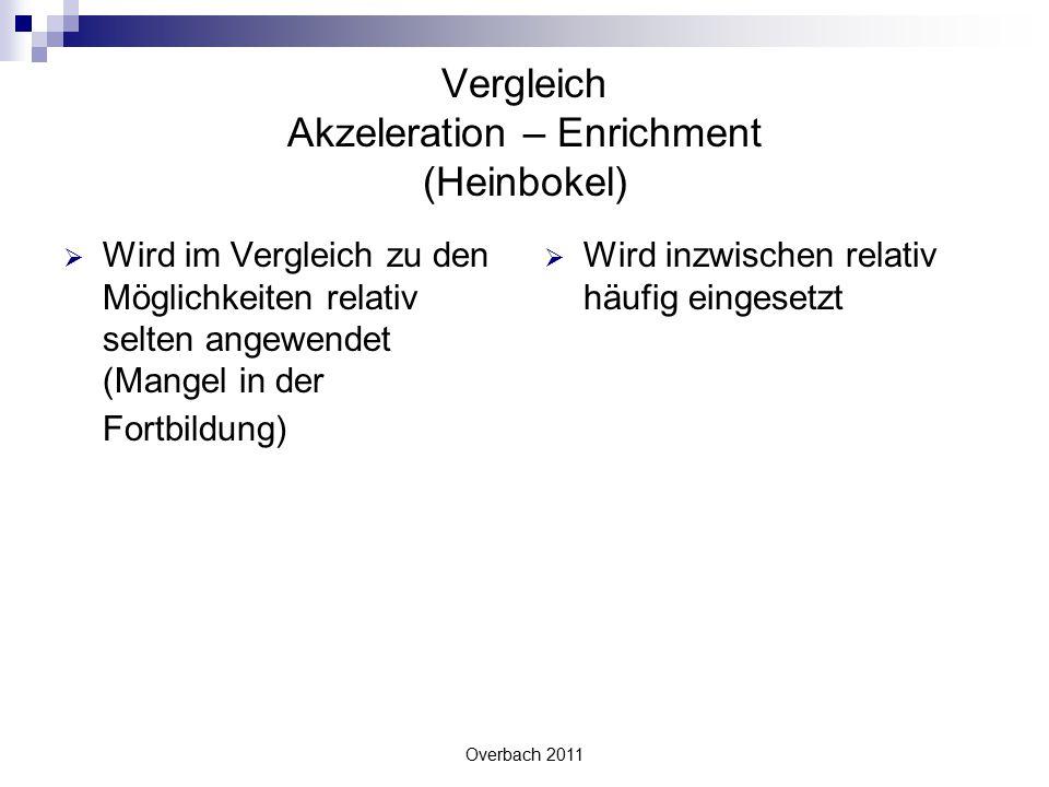 Vergleich Akzeleration – Enrichment (Heinbokel)