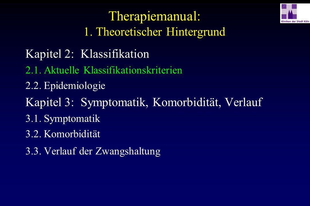 Therapiemanual: 1. Theoretischer Hintergrund