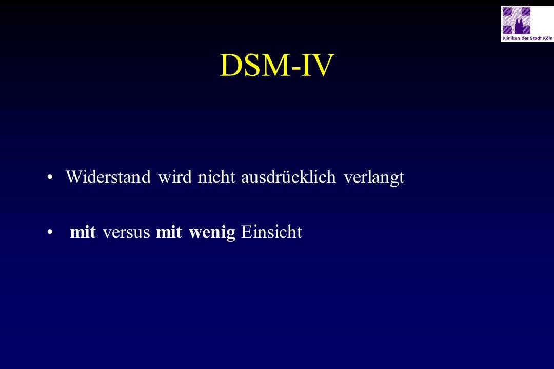 DSM-IV Widerstand wird nicht ausdrücklich verlangt