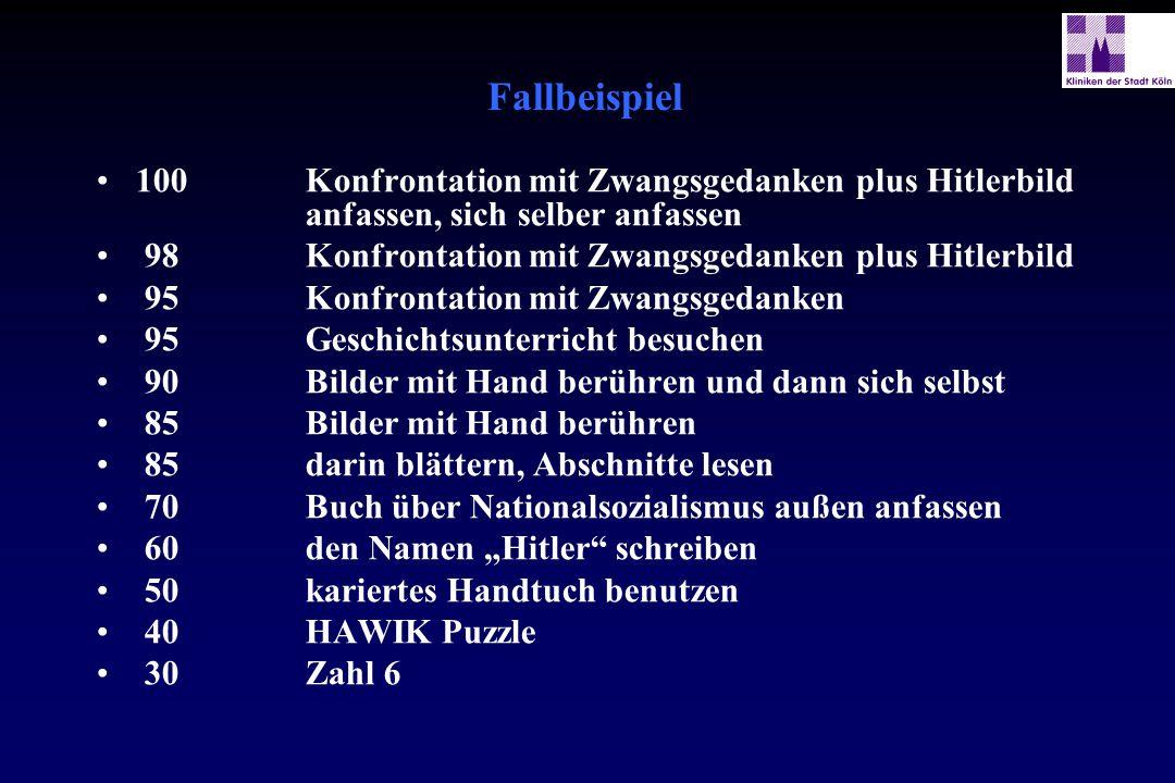 Fallbeispiel 100 Konfrontation mit Zwangsgedanken plus Hitlerbild anfassen, sich selber anfassen.
