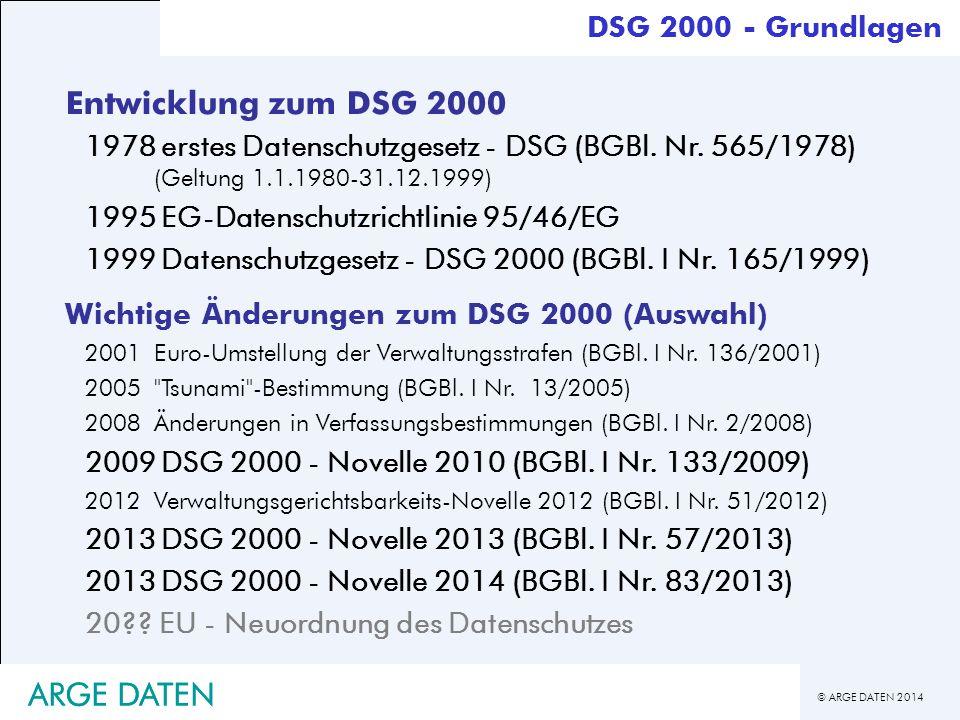 Entwicklung zum DSG 2000 ARGE DATEN ARGE DATEN DSG 2000 - Grundlagen