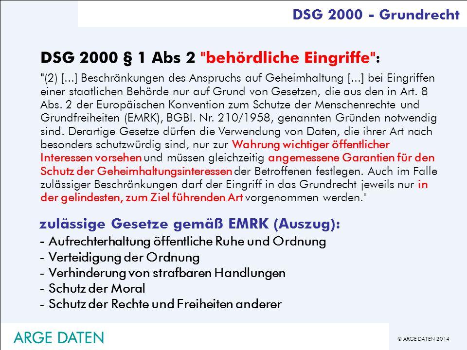 DSG 2000 § 1 Abs 2 behördliche Eingriffe :