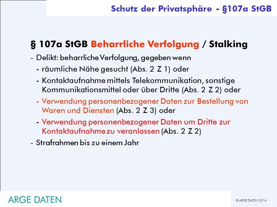 § 107a StGB Beharrliche Verfolgung / Stalking