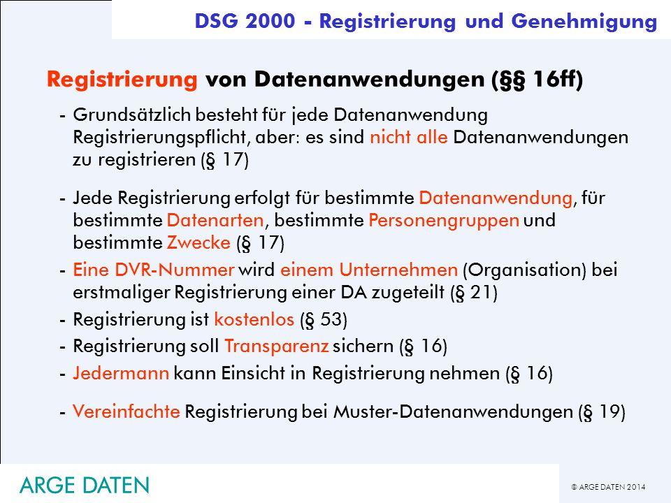 Registrierung von Datenanwendungen (§§ 16ff)