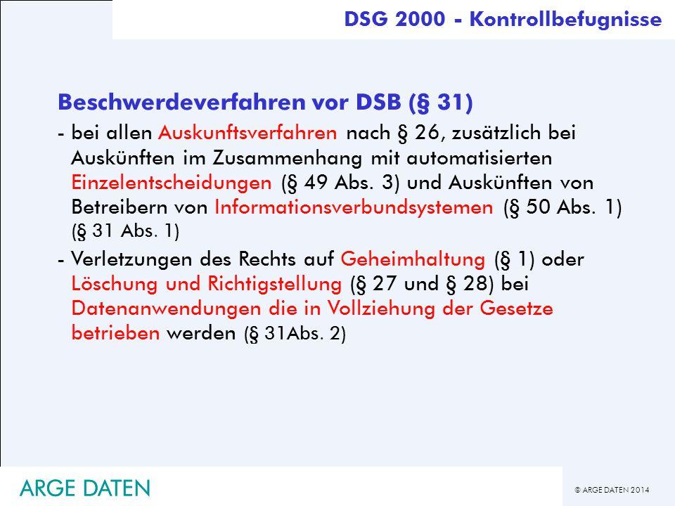Beschwerdeverfahren vor DSB (§ 31)