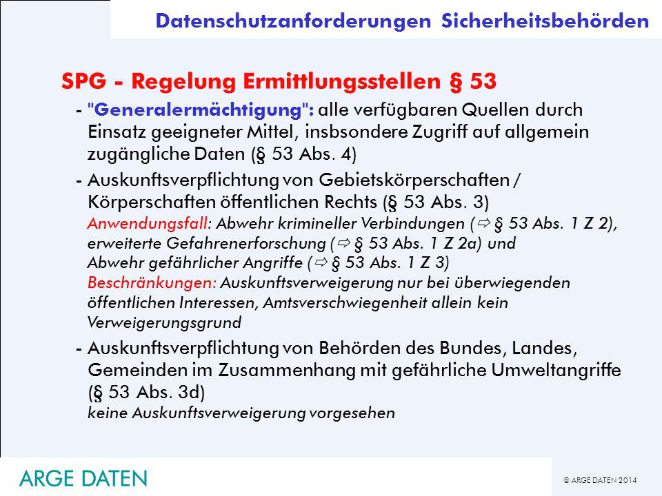 SPG - Regelung Ermittlungsstellen § 53