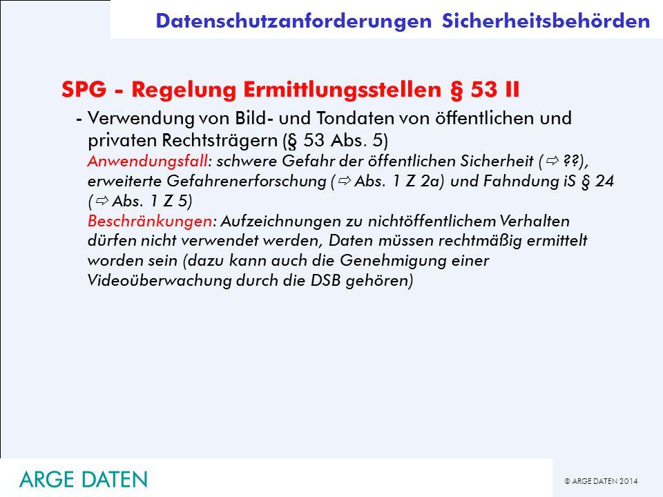 SPG - Regelung Ermittlungsstellen § 53 II