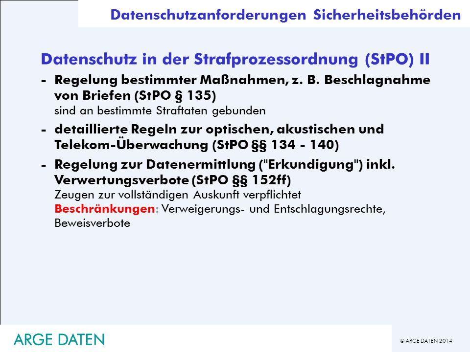 Datenschutz in der Strafprozessordnung (StPO) II