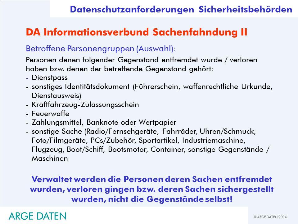 DA Informationsverbund Sachenfahndung II