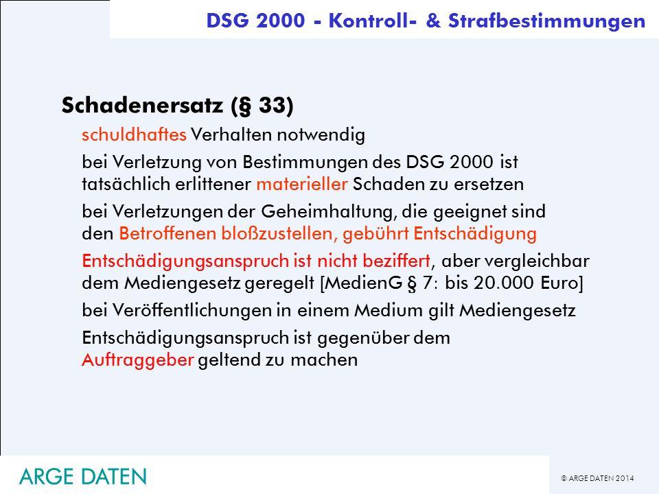 Schadenersatz (§ 33) ARGE DATEN ARGE DATEN
