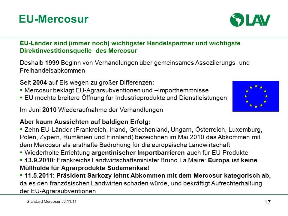 EU-Mercosur EU-Länder sind (immer noch) wichtigster Handelspartner und wichtigste Direktinvestitionsquelle des Mercosur.