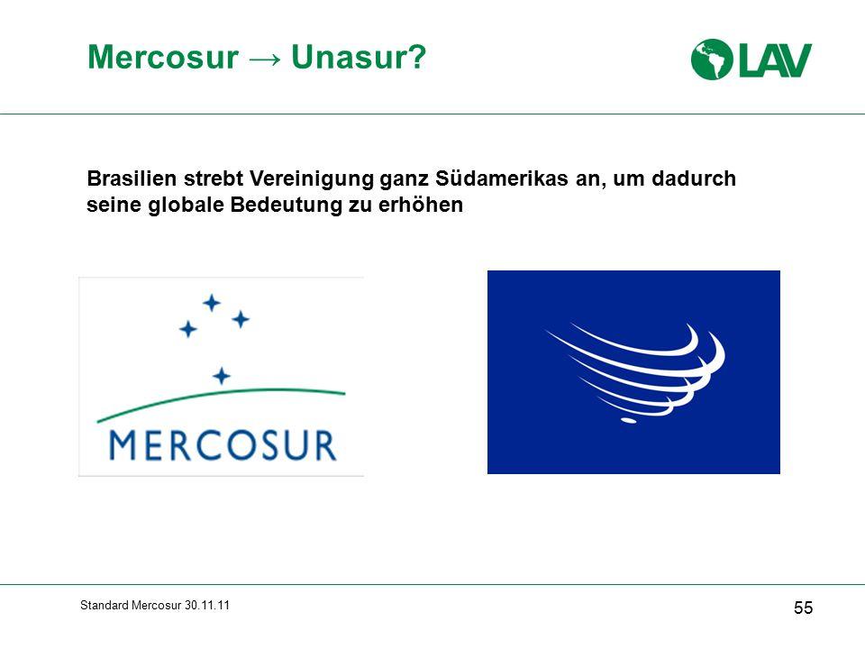 Mercosur → Unasur Brasilien strebt Vereinigung ganz Südamerikas an, um dadurch seine globale Bedeutung zu erhöhen.