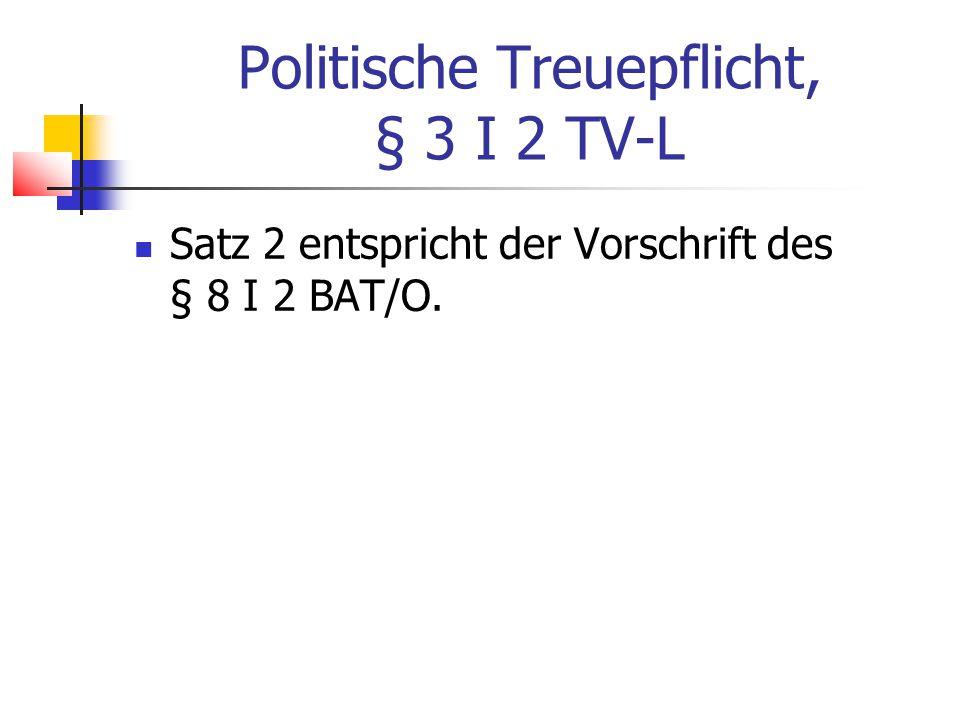Politische Treuepflicht, § 3 I 2 TV-L