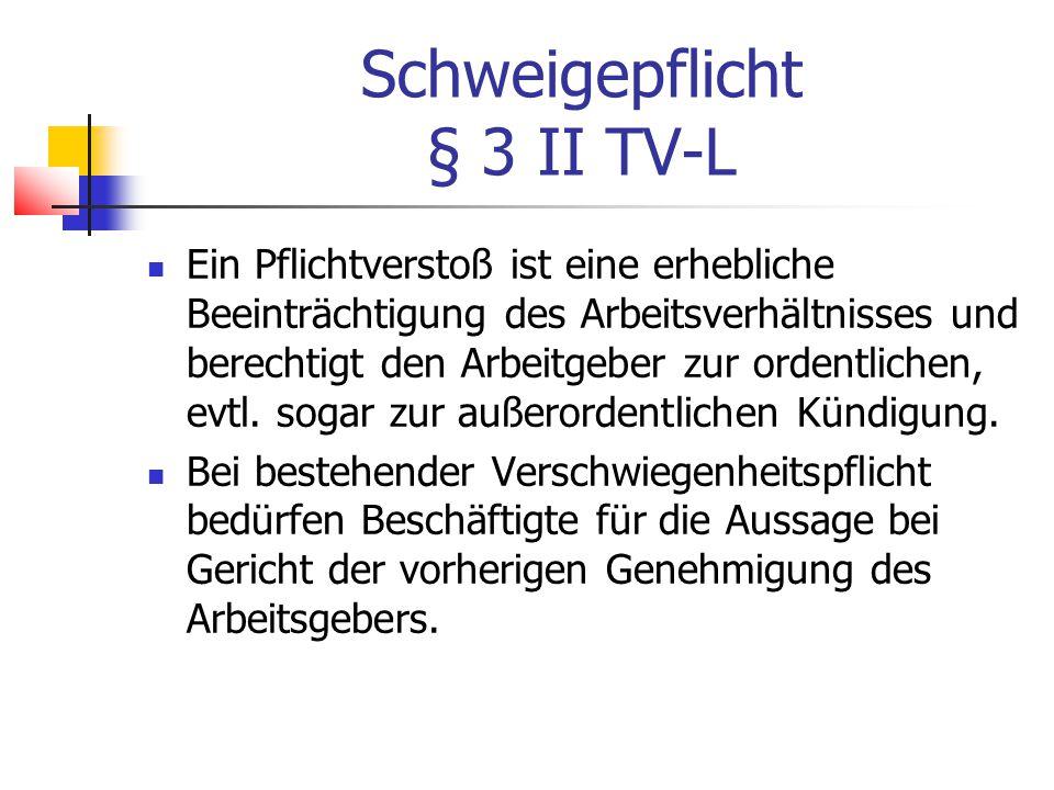 Schweigepflicht § 3 II TV-L