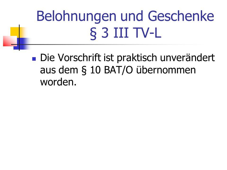 Belohnungen und Geschenke § 3 III TV-L