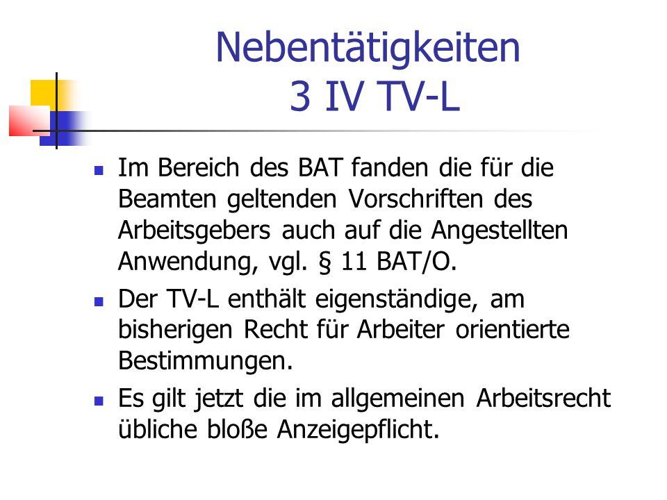 Nebentätigkeiten 3 IV TV-L