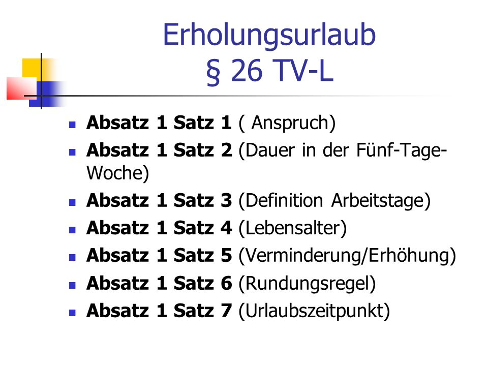 Erholungsurlaub § 26 TV-L