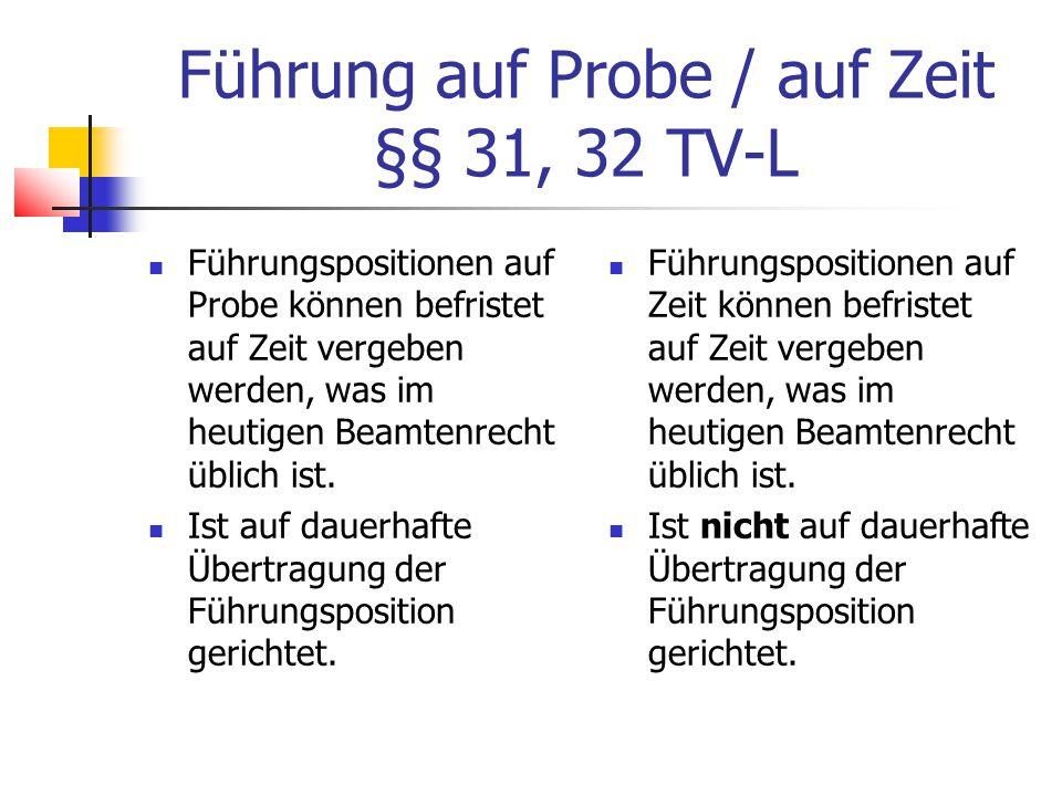 Führung auf Probe / auf Zeit §§ 31, 32 TV-L