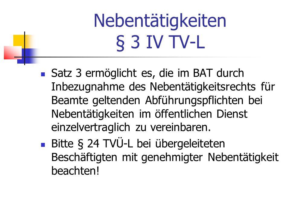 Nebentätigkeiten § 3 IV TV-L