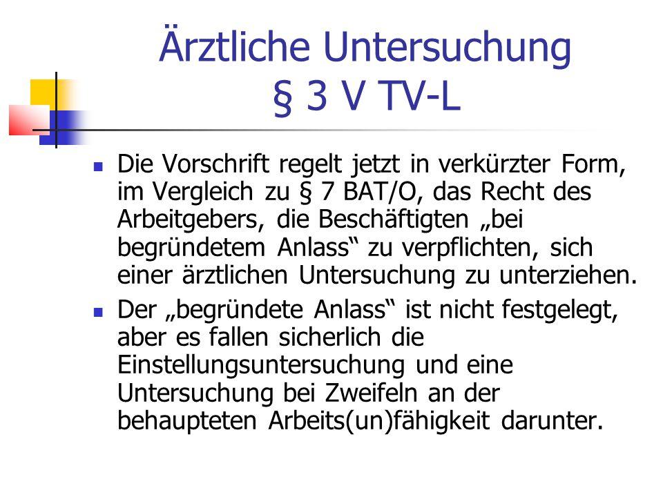Ärztliche Untersuchung § 3 V TV-L