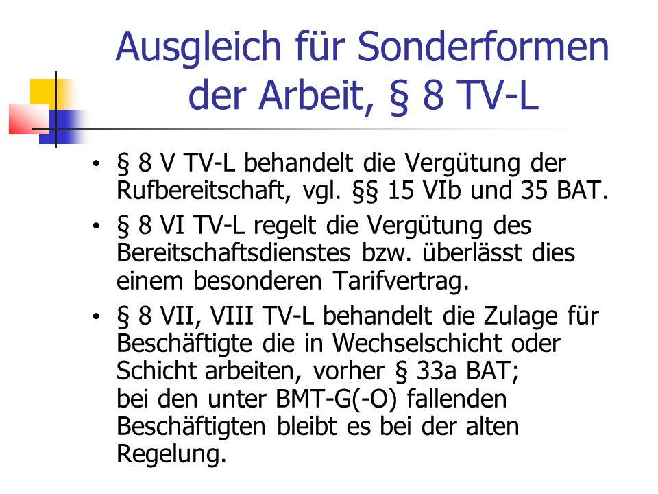 Ausgleich für Sonderformen der Arbeit, § 8 TV-L