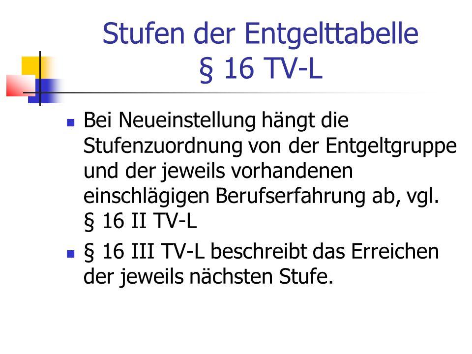 Stufen der Entgelttabelle § 16 TV-L