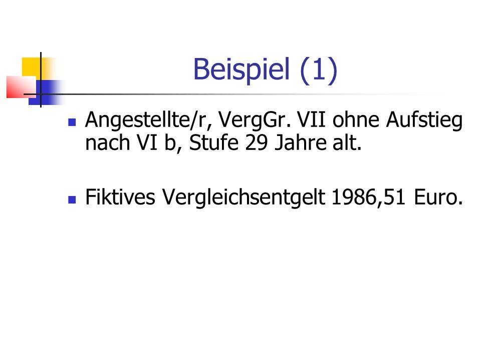 Beispiel (1) Angestellte/r, VergGr. VII ohne Aufstieg nach VI b, Stufe 29 Jahre alt.