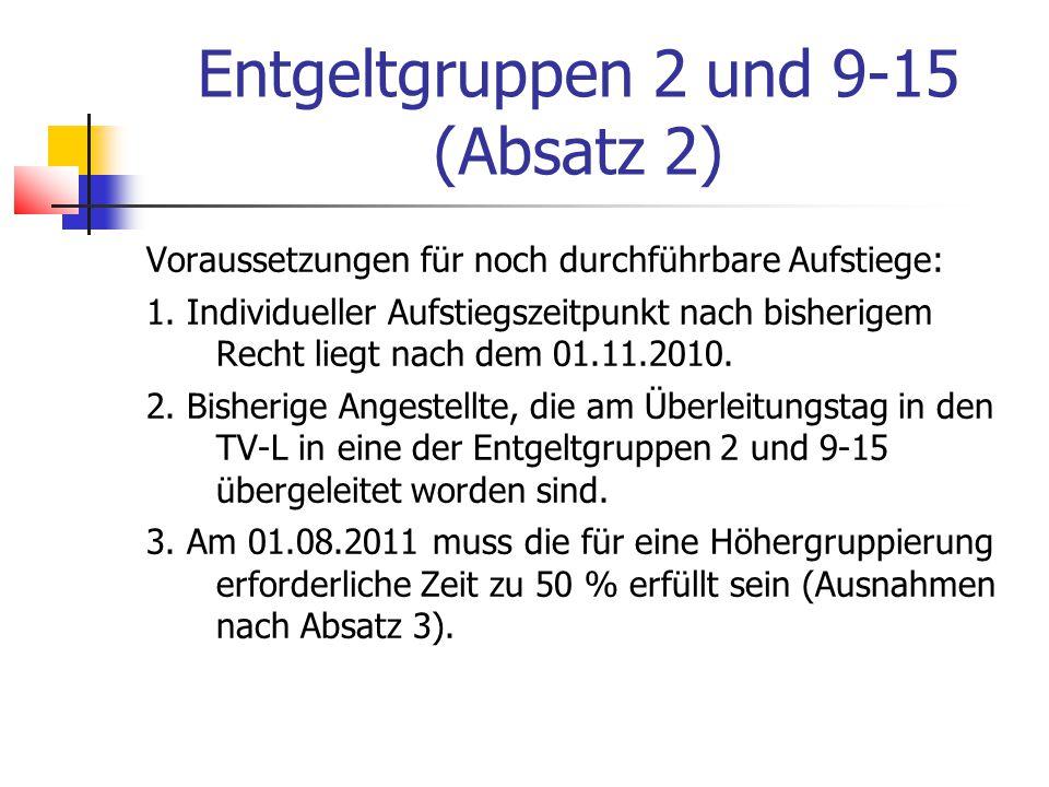 Entgeltgruppen 2 und 9-15 (Absatz 2)