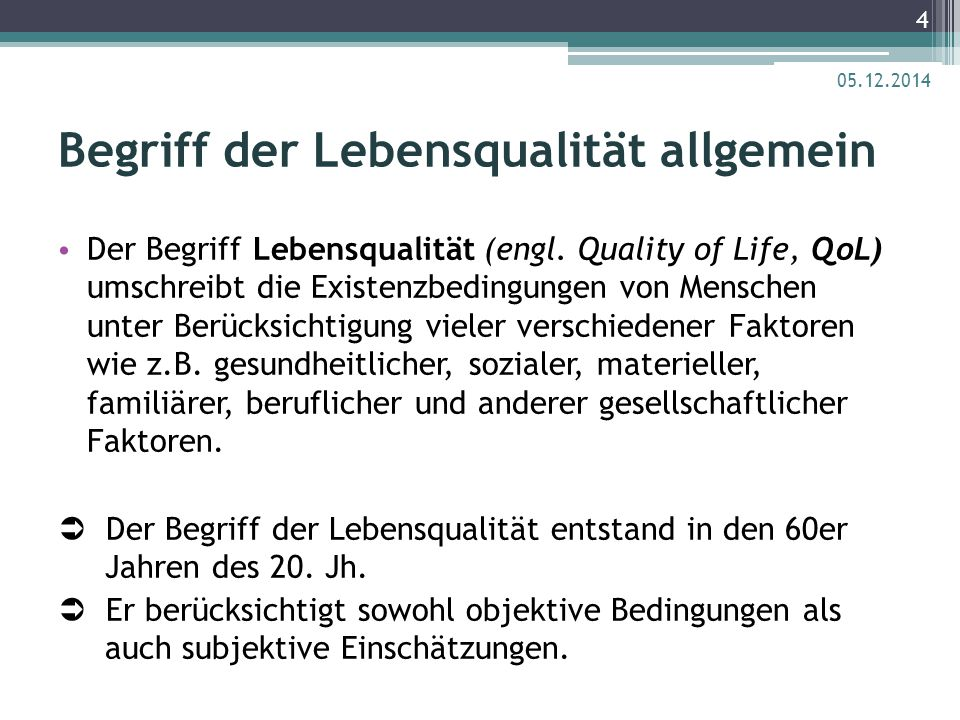 Begriff der Lebensqualität allgemein
