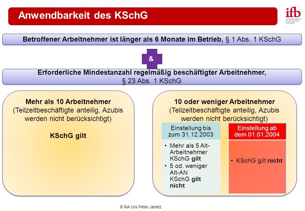 Anwendbarkeit des KSchG