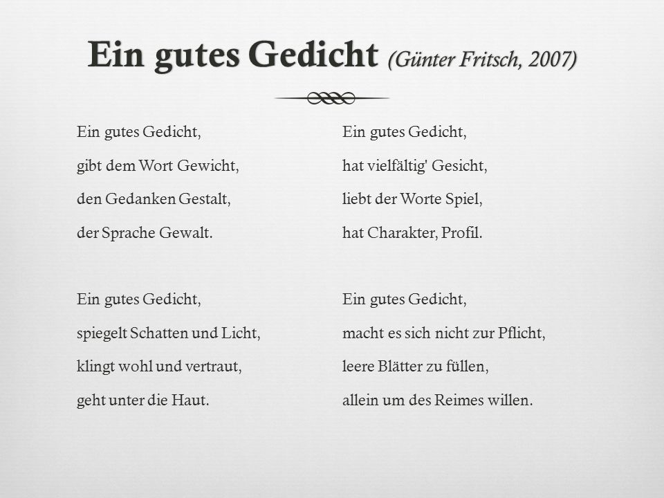 Ein gutes Gedicht (Günter Fritsch, 2007)