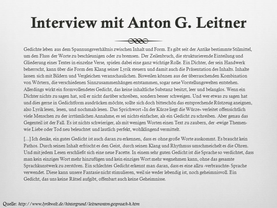 Interview mit Anton G. Leitner