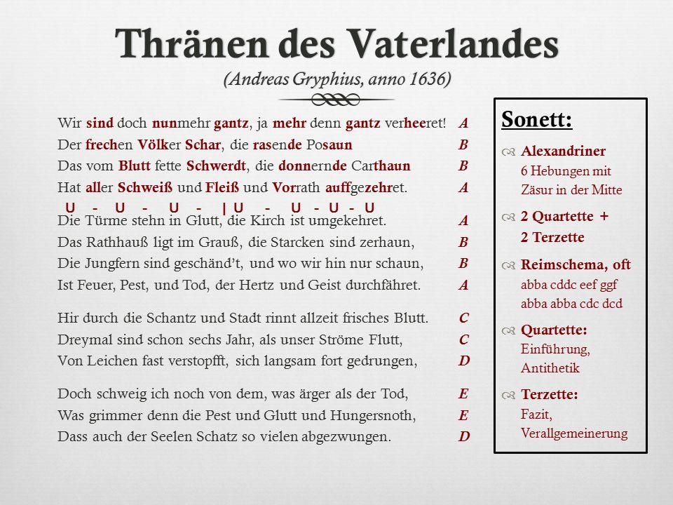 Thränen des Vaterlandes (Andreas Gryphius, anno 1636)