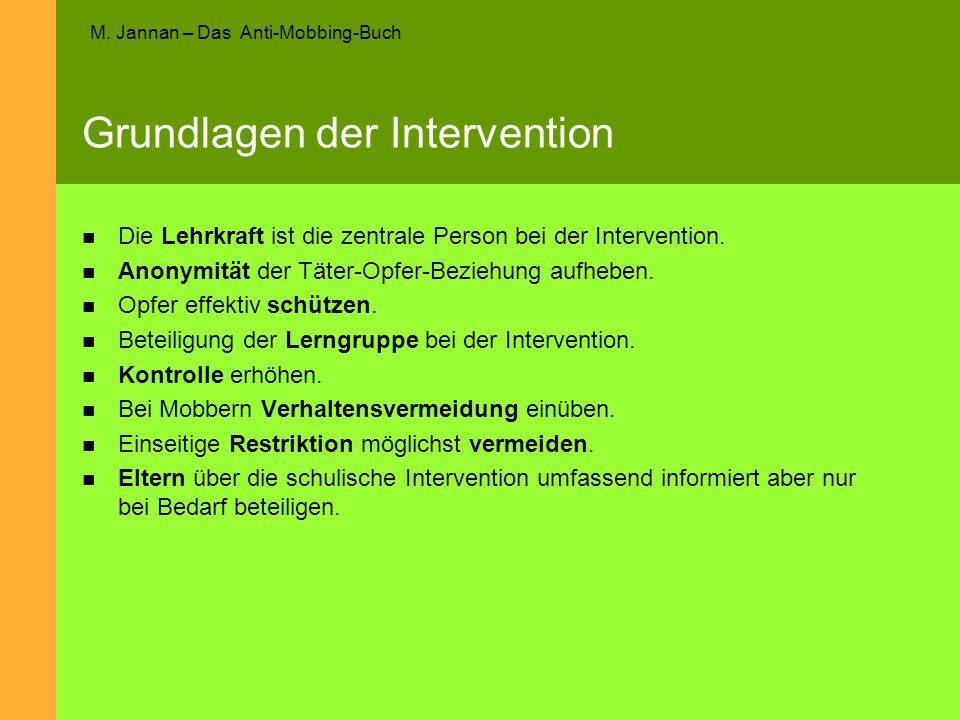 Grundlagen der Intervention