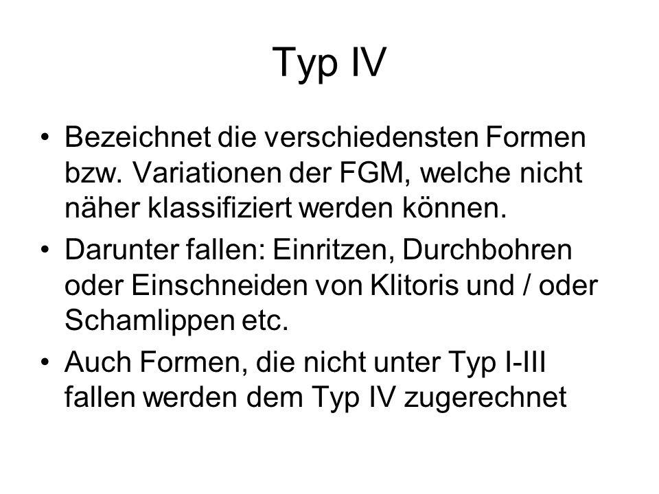 Typ IV Bezeichnet die verschiedensten Formen bzw. Variationen der FGM, welche nicht näher klassifiziert werden können.