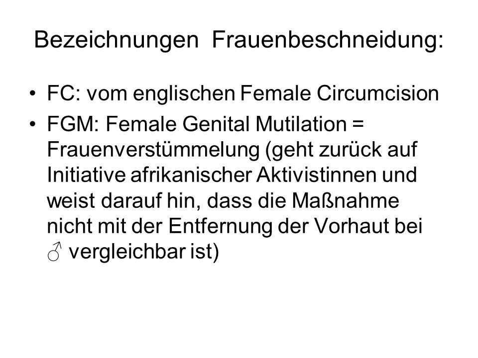 Bezeichnungen Frauenbeschneidung: