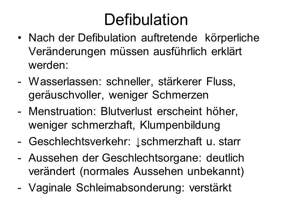 Defibulation Nach der Defibulation auftretende körperliche Veränderungen müssen ausführlich erklärt werden: