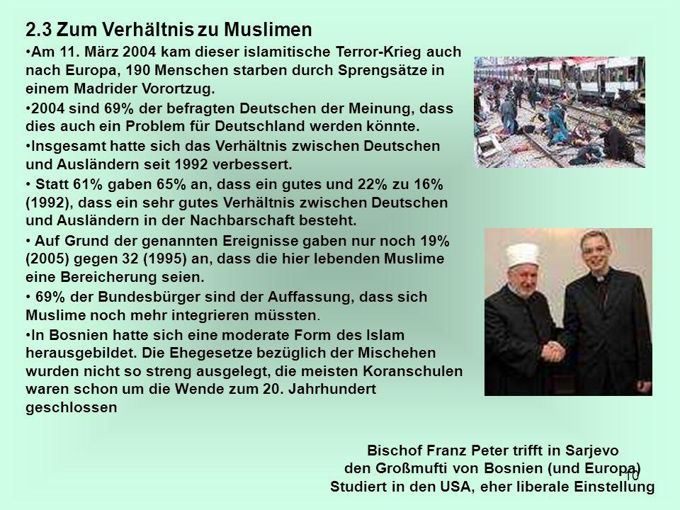 2.3 Zum Verhältnis zu Muslimen