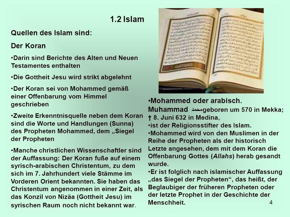 1.2 Islam Quellen des Islam sind: Der Koran