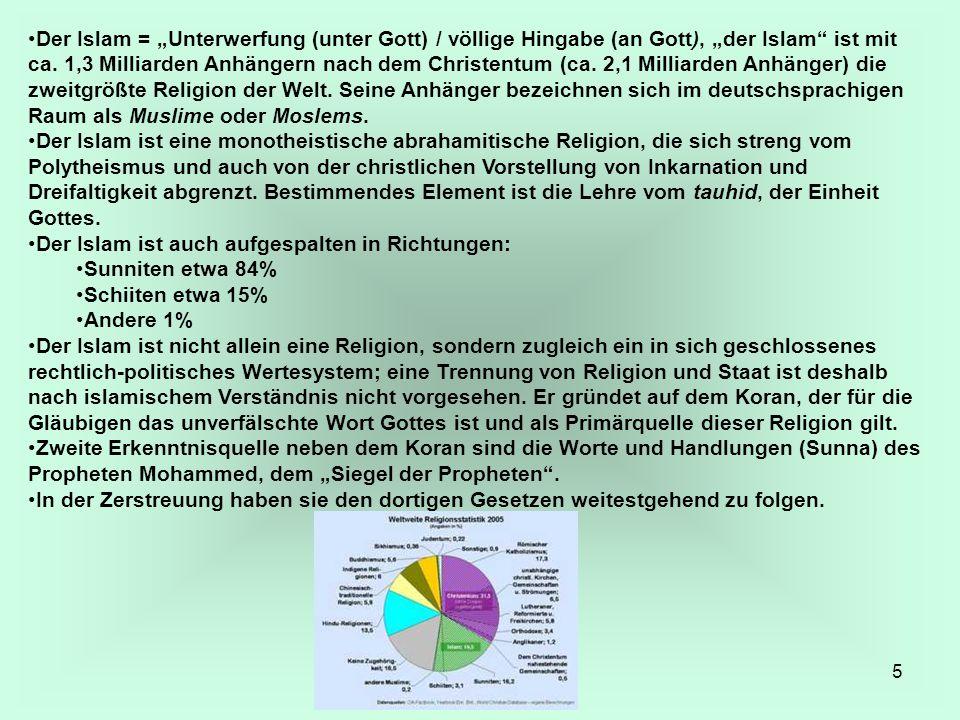 """Der Islam = """"Unterwerfung (unter Gott) / völlige Hingabe (an Gott), """"der Islam ist mit ca. 1,3 Milliarden Anhängern nach dem Christentum (ca. 2,1 Milliarden Anhänger) die zweitgrößte Religion der Welt. Seine Anhänger bezeichnen sich im deutschsprachigen Raum als Muslime oder Moslems."""