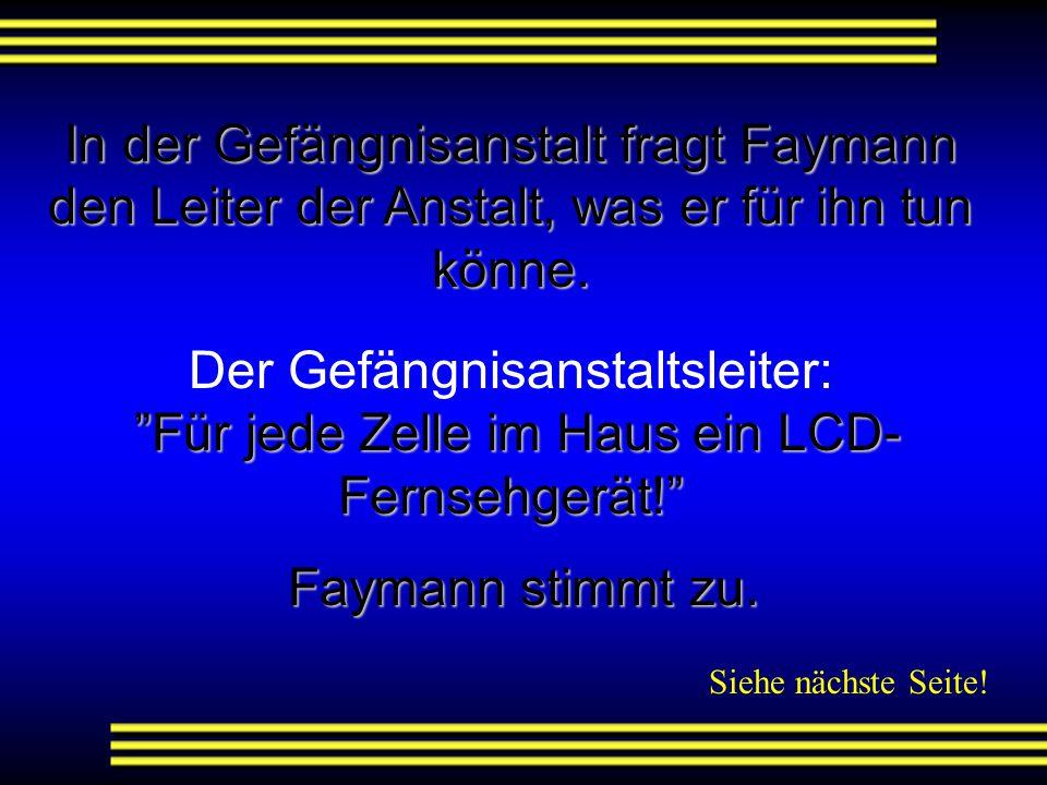 In der Gefängnisanstalt fragt Faymann den Leiter der Anstalt, was er für ihn tun könne.