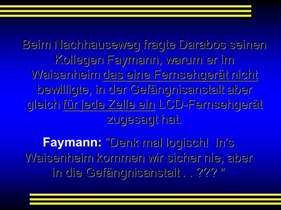 Beim Nachhauseweg fragte Darabos seinen Kollegen Faymann, warum er im Waisenheim das eine Fernsehgerät nicht bewilligte, in der Gefängnisanstalt aber gleich für jede Zelle ein LCD-Fernsehgerät zugesagt hat.