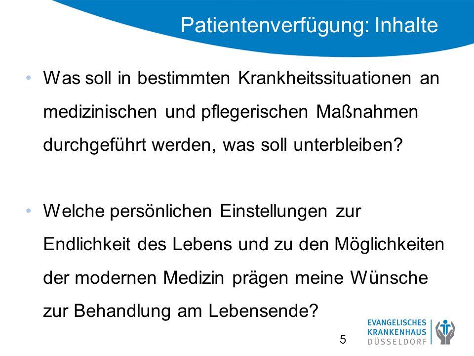 Patientenverfügung: Inhalte