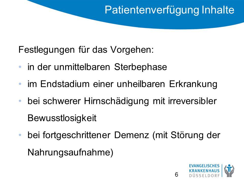 Patientenverfügung Inhalte