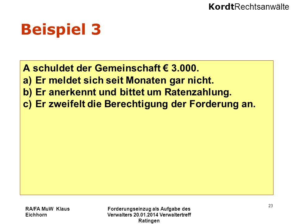 Beispiel 3 A schuldet der Gemeinschaft € 3.000.
