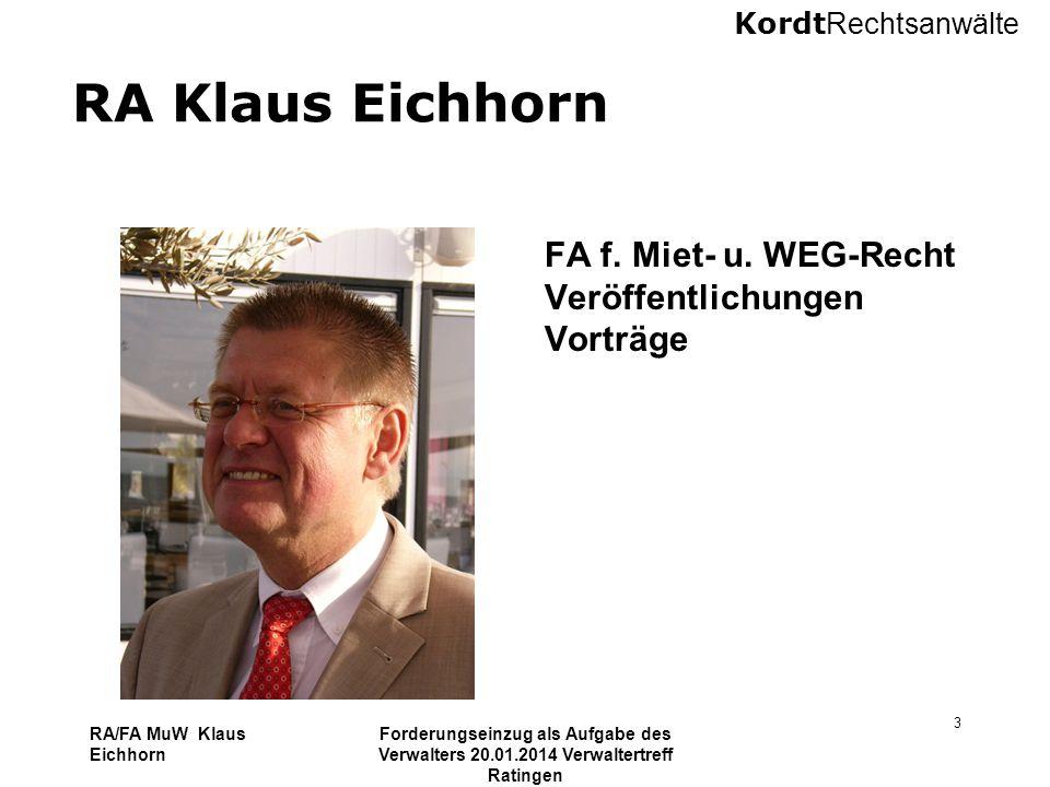 RA Klaus Eichhorn FA f. Miet- u. WEG-Recht Veröffentlichungen Vorträge
