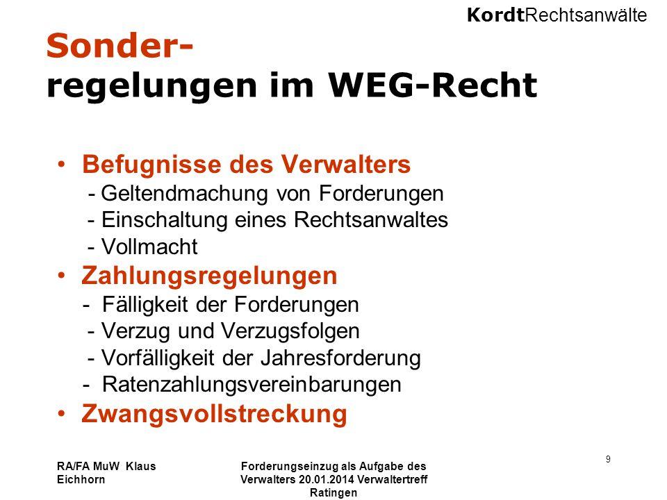 Sonder- regelungen im WEG-Recht